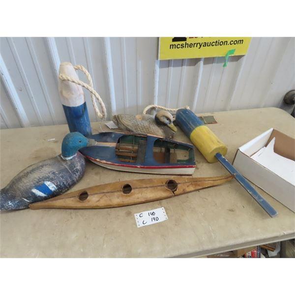Wood Boat Ornaments/ Display, Kyak Display, Wooden Carved Duck Decoy, 1 Paper Machete Plus More!