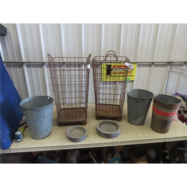 """2 Wire Garbage Cans 26""""H 14"""" x 14"""" & Galv Pails"""