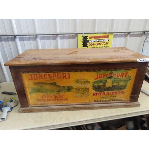 "Wooden Trunk w Jonesport Herring Adv. 17""H 41""W 17""D"