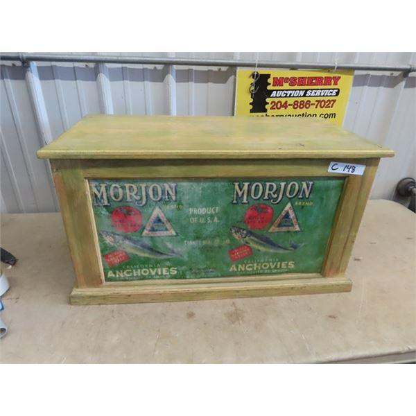 "Wooden Truck w Morjan Anchovies Adv 16""H 30.5"" W 15""D"