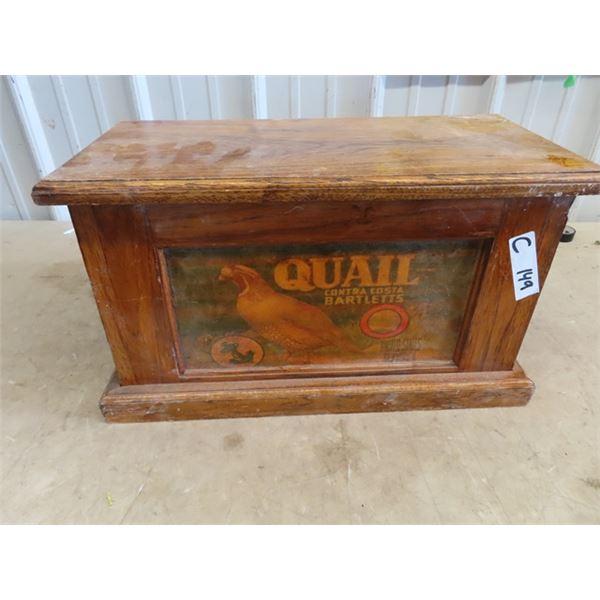 "Wooden Trunk w Quail Brand Adv 11""H 19""W 9""D"