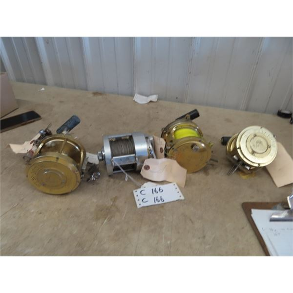 4 Big Game Reels, - Fin- Nor 2 1/2 A 267, Fin-Nor 50 Light, OHIO Tool Co. Otco 410 Deep Sea, Fin- No