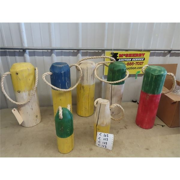 """7 Boat Tie Down Post Displays 5) are 20""""H 6""""RD & 2) are 12 """"H 4""""RD"""