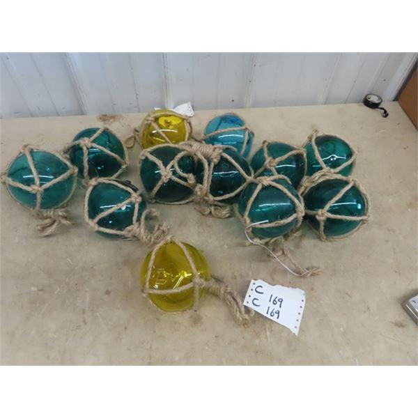 12 Glass Fishing Net Float Decor/Display
