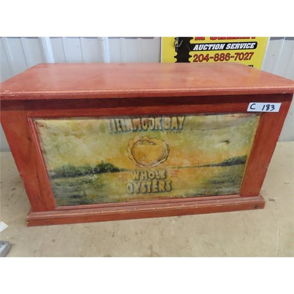 Wooden Chest W Tillamook Bay Adv- Whole Oysters