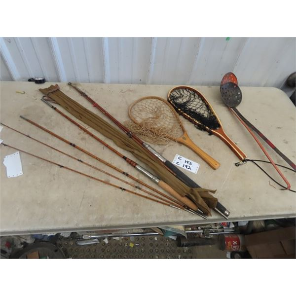 2 Old Wood Fishing Rods, Hand Nets, Ice Fishing Scoop