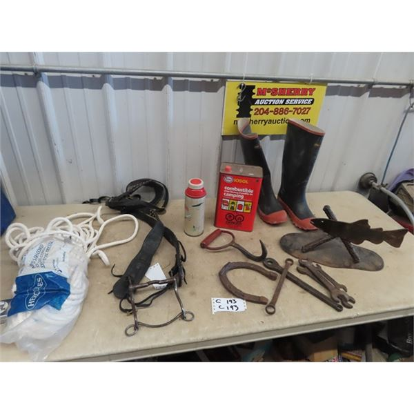 Proline New Size 9 Rubber Boots, Braided Sash Cord, Bridle, Bale Hook, Metal Fish Display, & Wrench