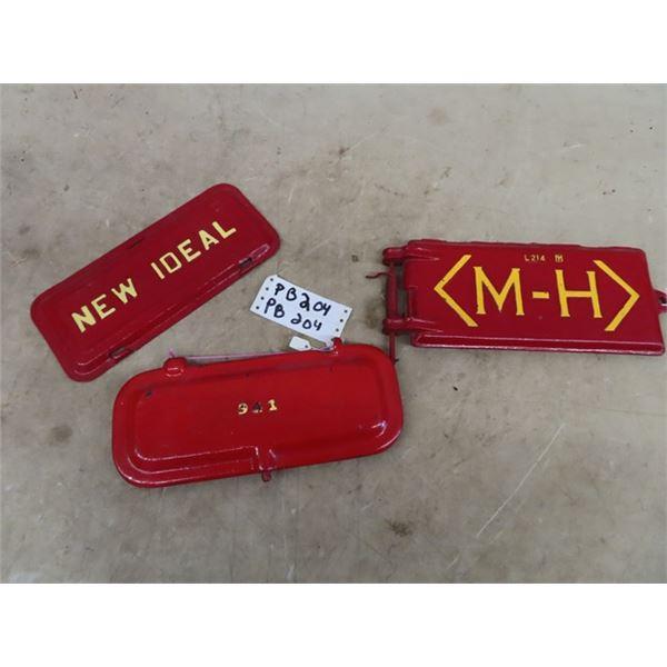 3 Metal Embossed Tool Box Lids, MH, New Ideal, 941