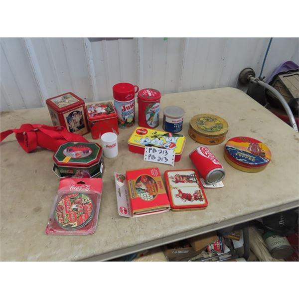 Coca Cola Collectibles, Cards, Tins, Coasters Plus Various Tins & Thermos