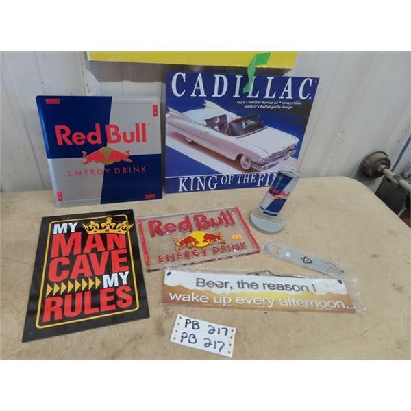 Metal Red Bull Sign, Cadillac Sign, Metal Man Cave Sign Plus More