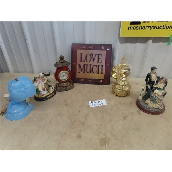Mantle Clock, Coal Oil Lamp, Nice Figurine Bedroom Lamp, Metal Love Sign Okys