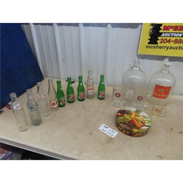 (MP) A & W Mugs & Jugs & Various Pop Bottles