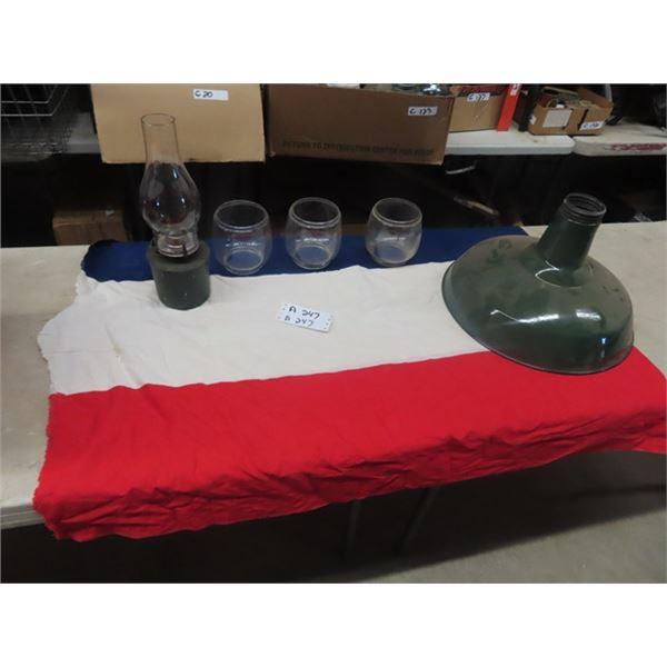 Porch Light Shade, CPR Coal Oil Lamp, 3 Lantern Glasses, Plus