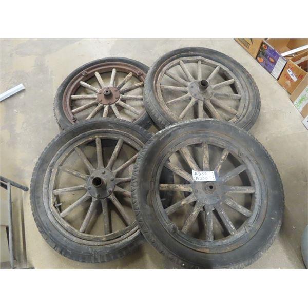 4 Wooden Spoked Auto Wheels Off Willys Overlander