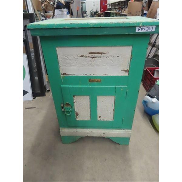"Painted Ice Box w Brass Tags- Prairie City 37""H 26""W 17""D"