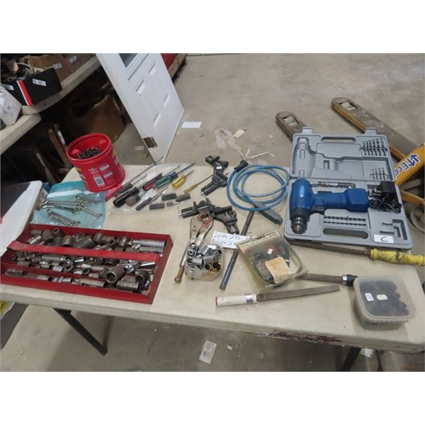 Mastercraft 8V Drill, Sockets, Wrenches, Odd & Ends Tools, Clamps, &  New Engine Heater