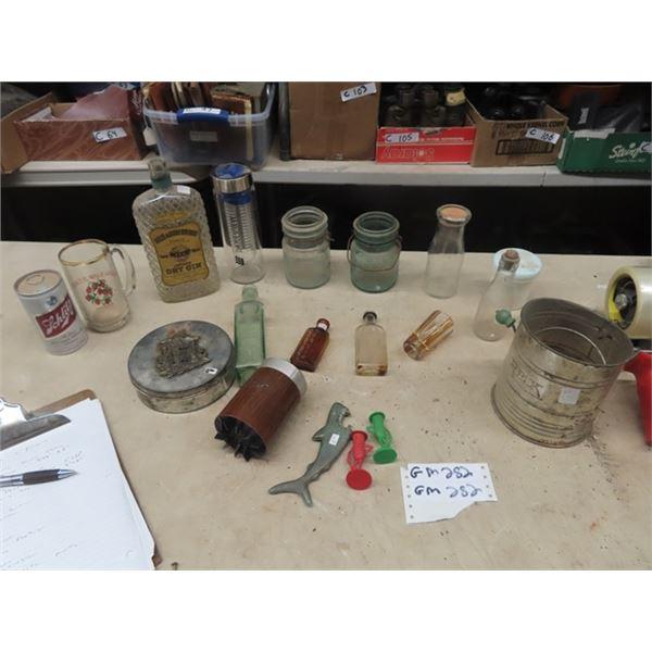 Sealers, Whiskey Bottles, Shark Bottle Opener, S & P Plus More