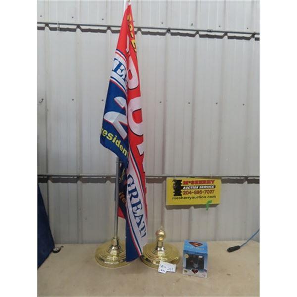 Trump Flag & Flag Stand & +Superman Display