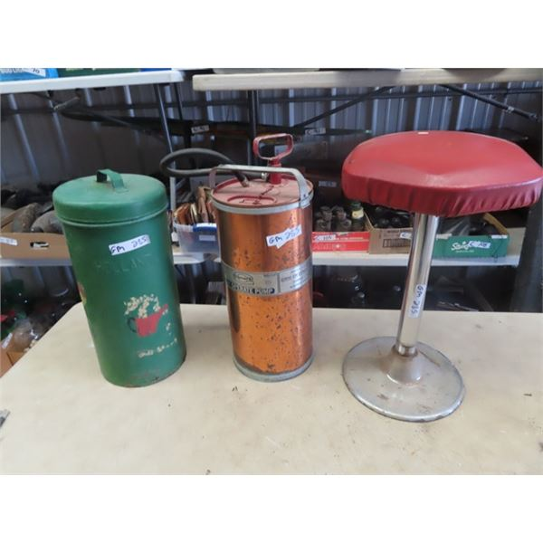 Copper Fire Extinguisher, Metal Milk Strainer Pail & Bar Stool