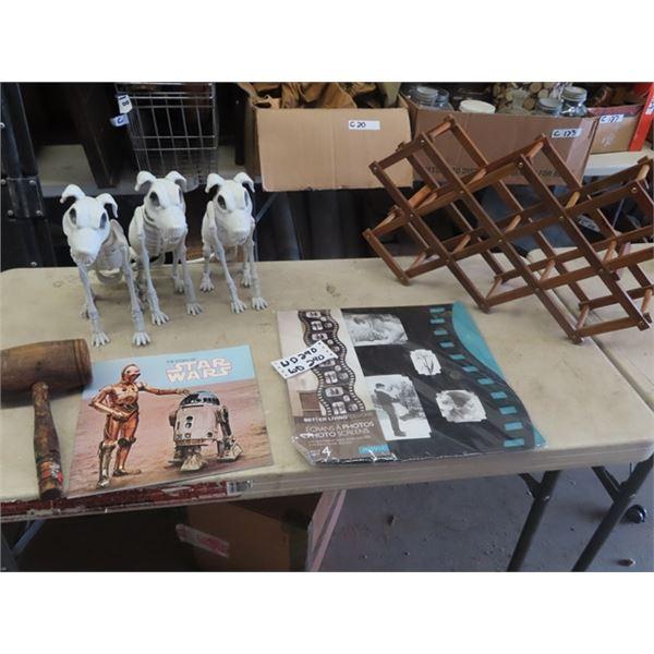 Starwars Book, Movie Display Decor, Wine Rack, 3 Skeleton Dogs, & Hotwheel Cars