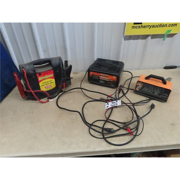 Moto Master Battery Charger w Engine Start, Kwik Start Booster Pak, & Eleminator Battery Charger