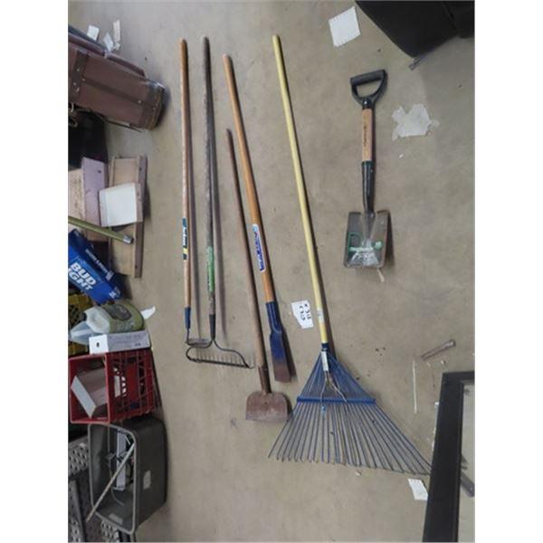 6 Hand Yard Tools, Rakes, Hoe, Edger, & Scraper