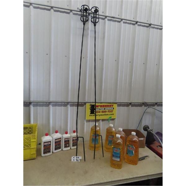 2 Metal Tiki Torch Stands, 5 Tiki Torch Fluid, & 4 Charcoal Fluid