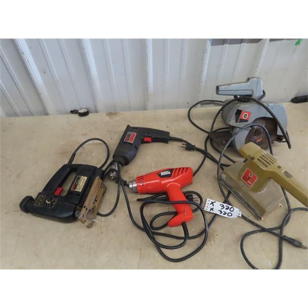 5 Power Tool- B & D Circ Saw, B & D Heat Gun, B &D  Sander, Skil Jig Saw,  & Skil Dril