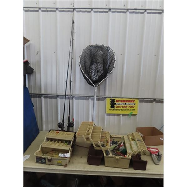 2 Fishing Rods & Reels , Net, 2 Tackle Boxes w Tackle
