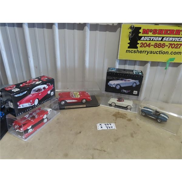4 Toy Die Cast Cars- Thunderbird , 2 Corvettes, & Shelby Cobra