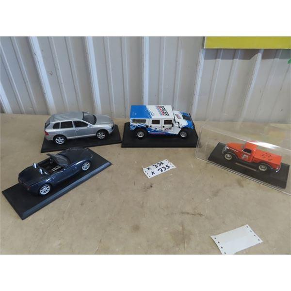 4 Toy Die Cast Vehicles- 1) 39 Pickup w Fram Adv , 1) Hummer w Spicer Adv & 2 Cars