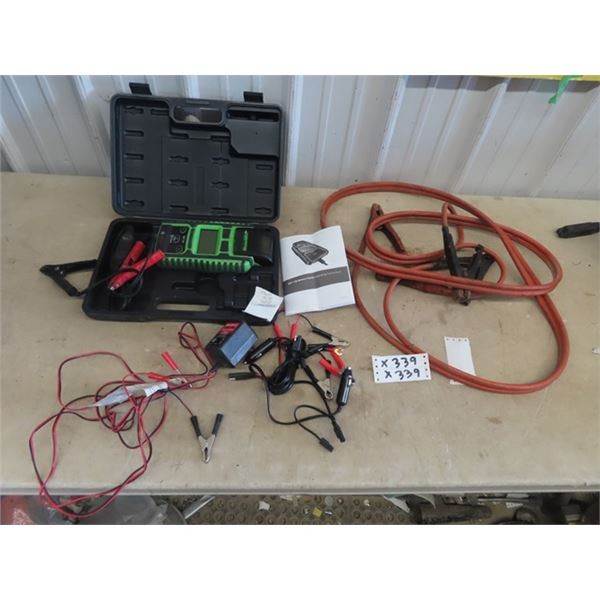 Bosch Battery Tester, Booster Cables, & 2 Trickle Chargers,