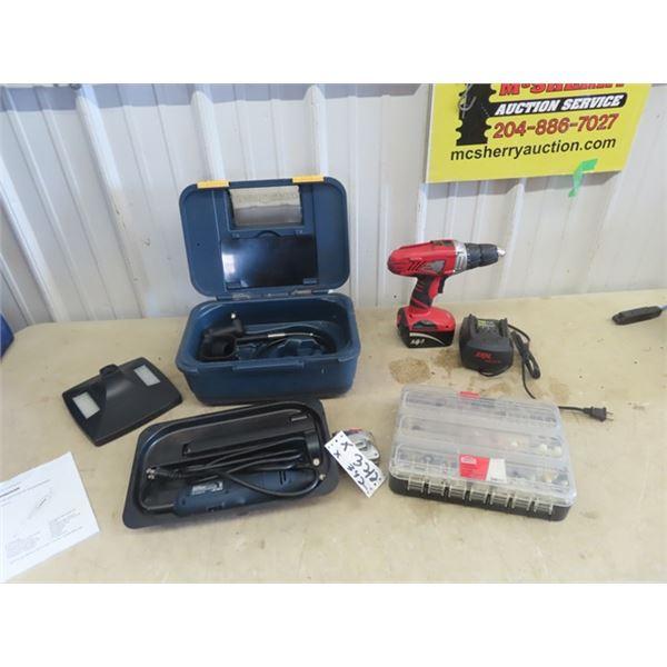 Mastercraft Dremel w Case & Accessories, 300 PC Dremel Attach, &  Skil 14.4 Cordless Drill