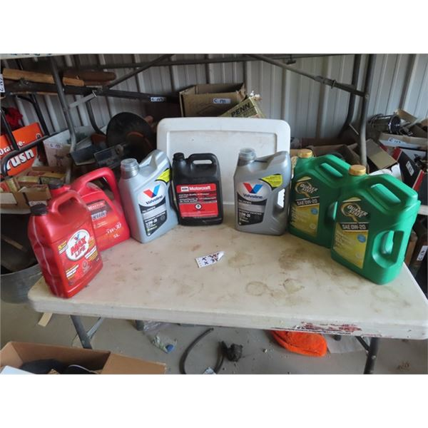 Oils & Antifreeze, 3 On the Right Full, 4 On Left Average anout 1/2 Full, 0W-20 Synthetic, Antiffree