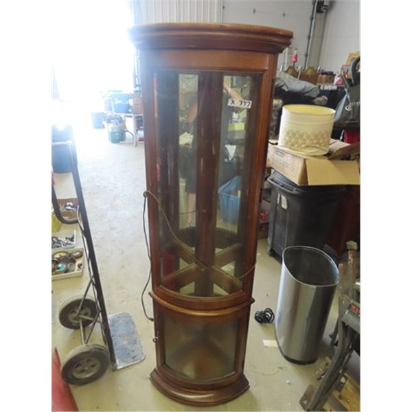 Corner Curved Glass Curio /China Cabinet w 4 Glass Shelves - Also Lights Up