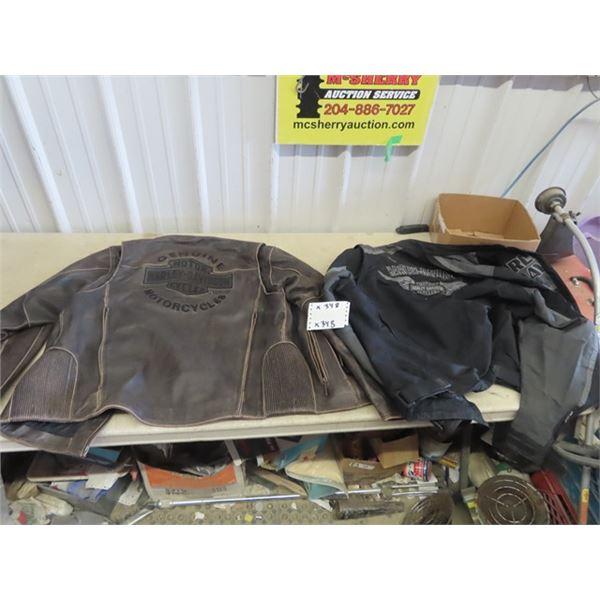 Harley Davidson Leather Jacket - Size Large & Harley Davidson Wind Breaker XL