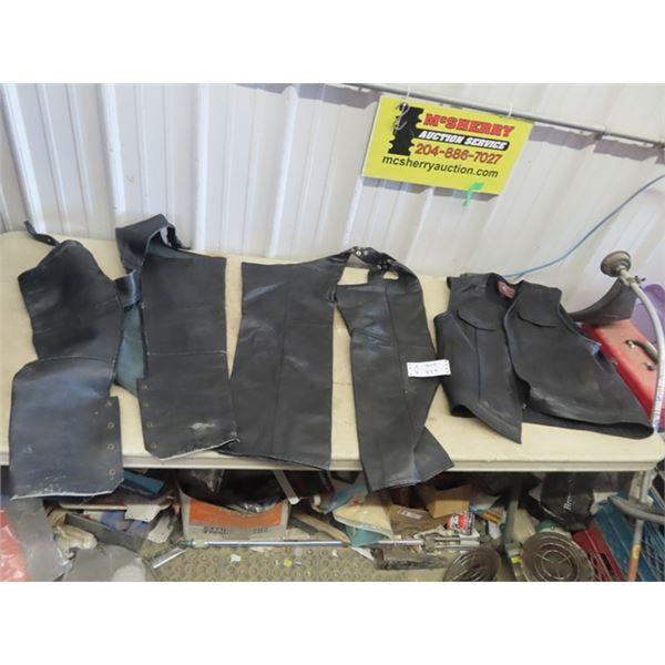 Leather Vest - Large, 2 Sets Leather Chaps, Leather Jacket XL, Honda Leather Jacket - Size 46