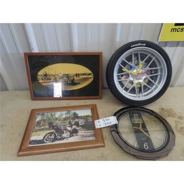 """Good Year CLock 14""""RD, & Champion Clock 12"""" RD, Race Car & Motorcycle Frame Pic"""