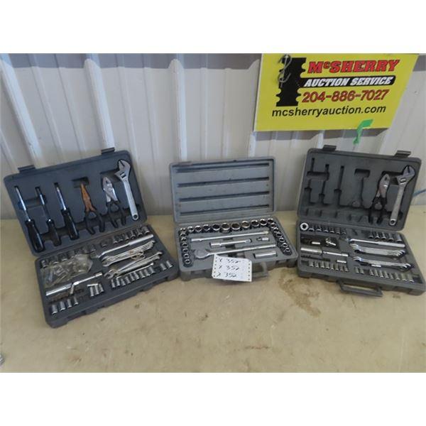 "3 Tool Kits - 1 Is 1/2"" Mastercraft Socket Set, 2 Tool Sets are Wrench Sockets Plus"