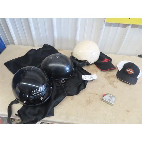 3 Motorcycle Helmets, Harley Hat & Carry On