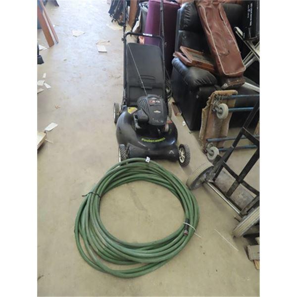 "Poulan 4.75 HP - 21"" Push Gas Mower w Bagger & Rubber Garden Hose"
