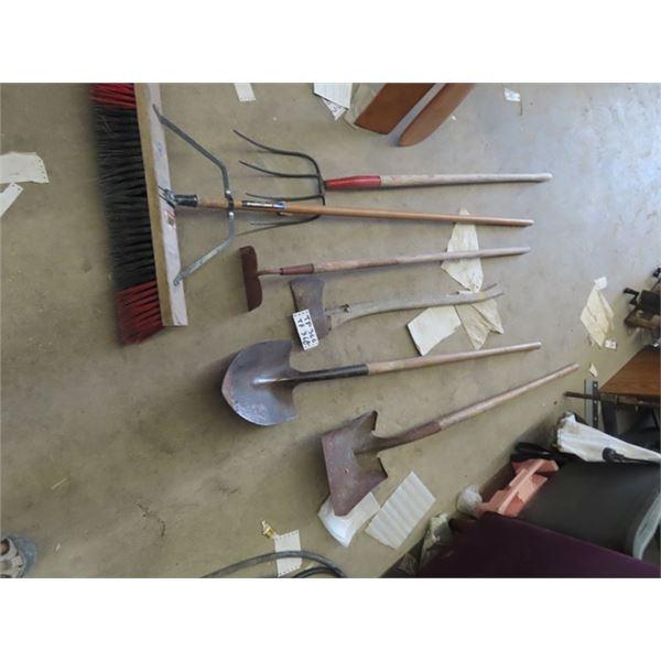 Axe, Shovel, Spade, Hoe, Fork & Push Broom