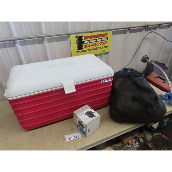 Camping Cooler, Blow Up Mattress, & 12 Volt Compressor