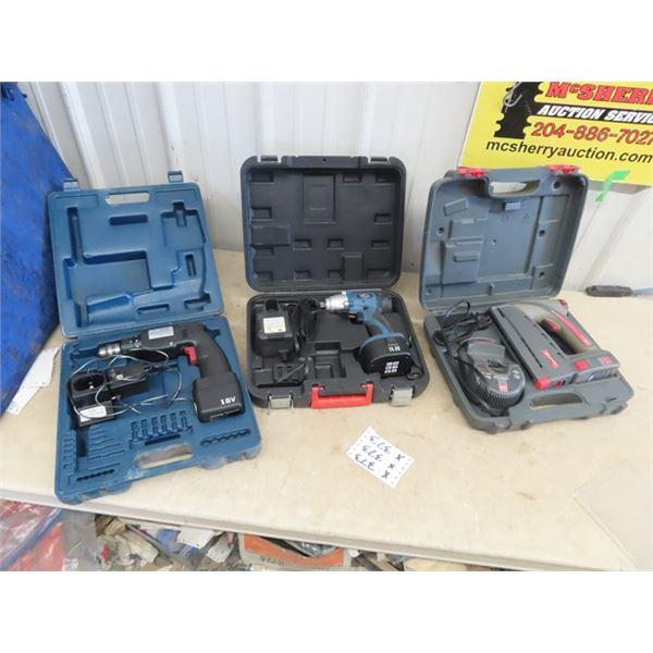 "12 Volt Drill, 14.4 Volt 1/2"" Impact, 10.8 Volt Stapler, All w Case & Charger & 1 Battery"