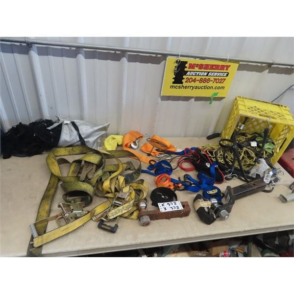 Load Ratchet Straps, 2 Receiver Ball Hitches, Bungee Cords, Cargo Net, Tow Straps