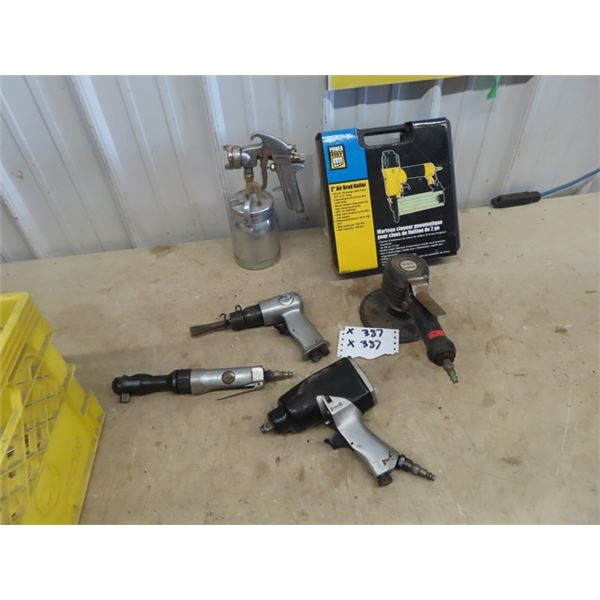 "Air Tools- 2"" Brad Nailer, Paint Sprayer, Impact Chisel, 1/2"" Impact Gun, 1/2"" Ratchet, 6"" Sander"