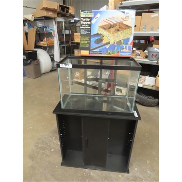 "20 Gal Aquarium & Stand w  NewTurtle Paper Aquarium 17"" x 24"" x 12"" , Stand 29"" x 29"" x 14"""