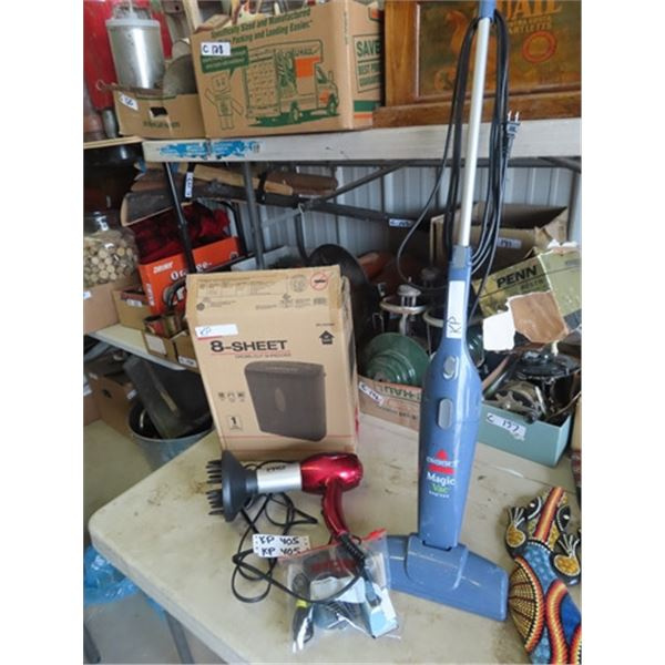 Bissell Upright Vac , Power 8 Sheet Shredder, & Hair Clippers (Pet)