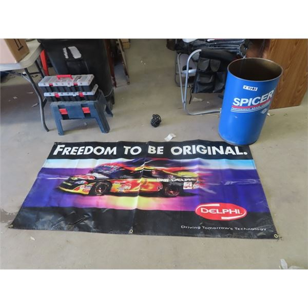 """15 Gal Can Spicer, Delphi Banner 33"""" x 68"""""""