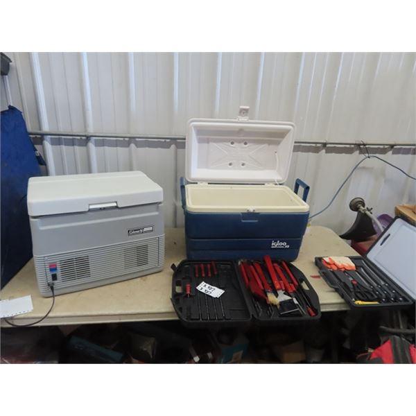 2 Camping Cooler - 1 is 12 Volt, Plus BBQ Utensils & Case  & Fish Filletting Set w Case